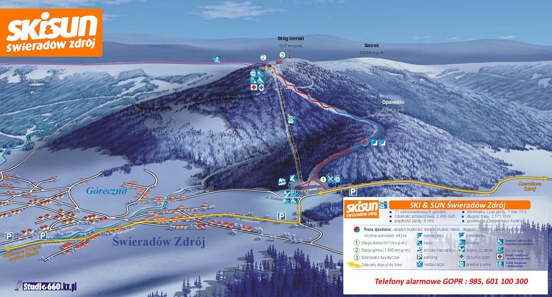 Mapa Świeradów Zdrój Wyciąg Narciarski Ośrodek Ski SUn