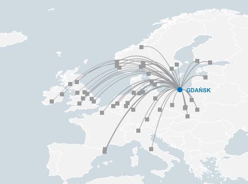 lotnisko Gdańsk-siatka połączeń
